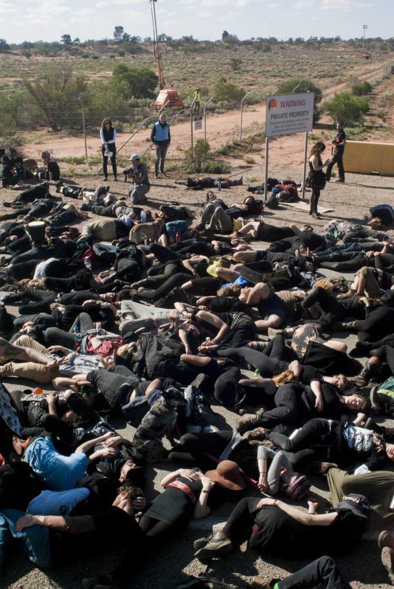 Die-in at Olympic Dam mine gates for Lizard Bites Back